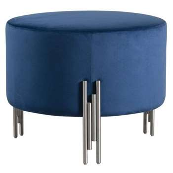 Rubell Large Stool Navy Silver base (H49 x W60 x D60cm)