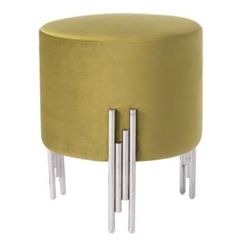 Rubell Stool Moss Silver base (H50 x W40 x D40cm)