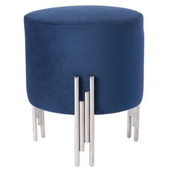 Rubell Stool Navy Silver base (H50 x W40 x D40cm)