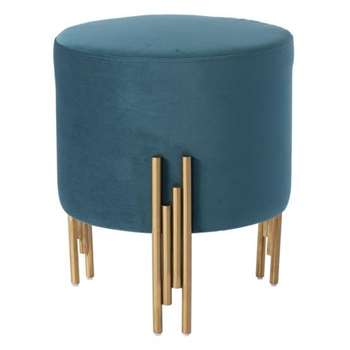 Rubell Stool Peacock Brass base (H50 x W40 x D40cm)
