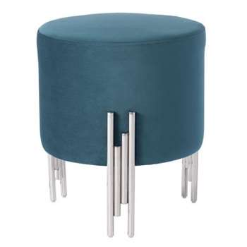 Rubell Stool Peacock Silver base (H50 x W40 x D40cm)