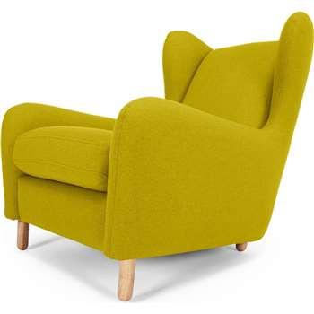 Rubens Wing Back Armchair, Kelp Green Wool Mix (101 x 82cm)