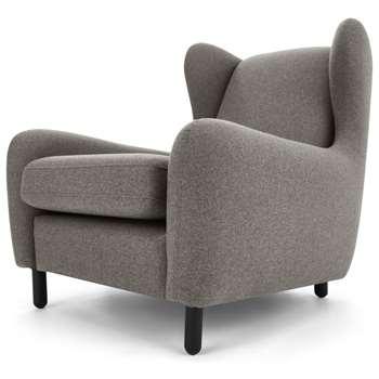 Rubens Wingback Armchair, Nickel Grey (H88 x W83 x D100cm)