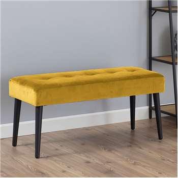 Ruby Bench - Mustard Velvet (H45 x W95 x D38cm)