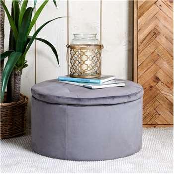 Ruby Storage Ottoman - Grey Velvet (H36 x W60 x D60cm)