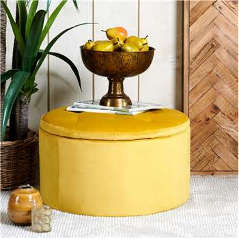 Ruby Storage Ottoman - Mustard Velvet (H36 x W60 x D60cm)