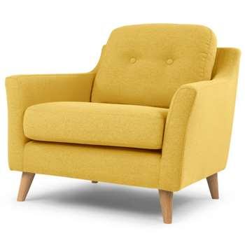 Rufus Armchair, Mustard Yellow (H83 x W80 x D88cm)