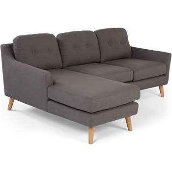 Rufus Left Hand Facing Corner Sofa, Rhino Grey (83 x 204cm)