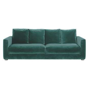 Rupert Emerald green velvet 3 seater sofa bed