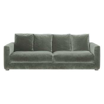 Rupert Sage Green Velvet 3 Seater Sofa Bed - 86 x 230cm