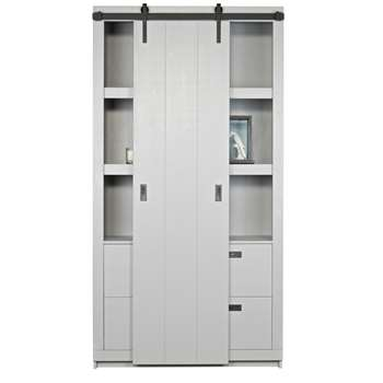 Rustic Pine Cabinet with Sliding Door in Concrete Grey 230 x 122cm