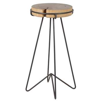 Rustic Wood And Iron Bar Stool (70 x 34cm)