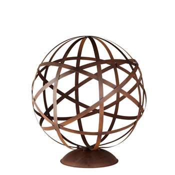 RUSTY Brown Metal Globe Garden Accessory