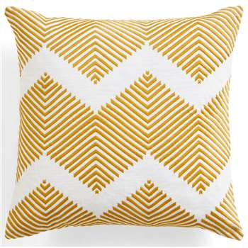 Ryker Embroidered Cushion, Ochre (45 x 45cm)