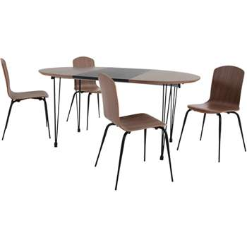 Ryland Extending Dining Table and 4 chairs Set, Walnut and Black (74 x 110-160cm)
