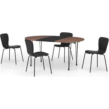 Ryland Extending Dining Table and 4 chairs Set, Walnut and Black (H74 x W160cm)