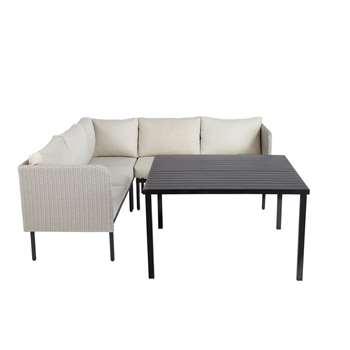SÉOUL Resin Wicker and Aluminium Garden Table with Corner Sofa (83 x 204cm)