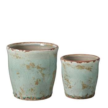 Sabadell Planters, Set of Two - Celadon (17 x 17cm)