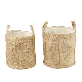 SABAH 2 Woven Hemp and Unbleached Cotton Baskets (H48.5 x W45 x D45cm)