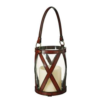 Saddle Leather Cross Hurricane Lamp - Nut Brown (56 x 23cm)