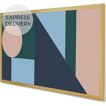 Sadie Geometric Large Framed Wall Art Print, Multi (H100 x W50 x D2cm)