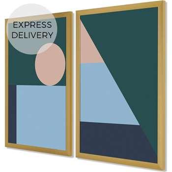 Sadie Geometric Set of 2 Framed Wall Art Prints, Teal, Pink, Blue & Brass Frame (H46 x W64 x D2cm)
