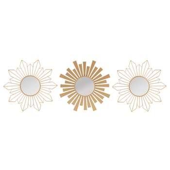 SAFARI PARTY Set of 3 Matt Gold Metal Mirrors (H25 x W25 x D2cm)