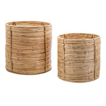 Safari Set 2 Cylinder Cane Baskets