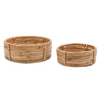 Safari Set of 2 Shallow Cane Bowls