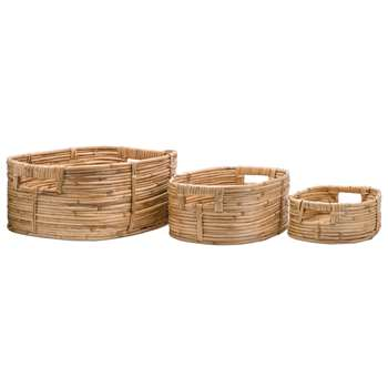 Safari Set of 3 Cane Storage Baskets