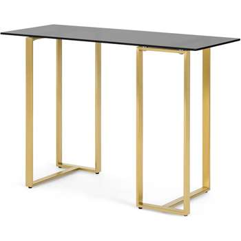 Saffie Console Desk, Brass & Smoked Glass (H77 x W110 x D45cm)