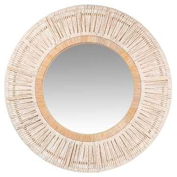 SAFI - Round White Woven Mirror (Diameter 70cm)