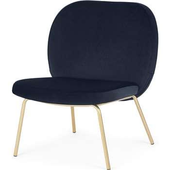 Safia Accent Armchair, Royal Blue Velvet (H62 x W69 x D76cm)