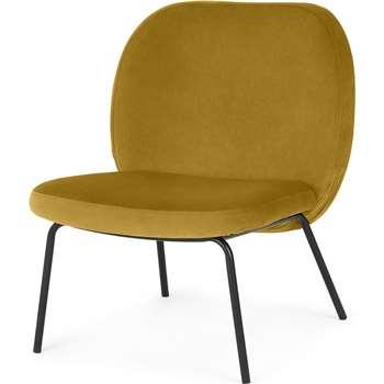 Safia Accent Armchair, Vintage Gold Velvet (H62 x W69 x D76cm)