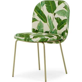 Safia Dining Chair, Leaf Print and Brass (H82 x W50 x D59cm)