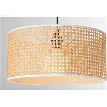 Sagres Pendant Lamp Shade, Natural Cane & White (H16 x W35 x D35cm)