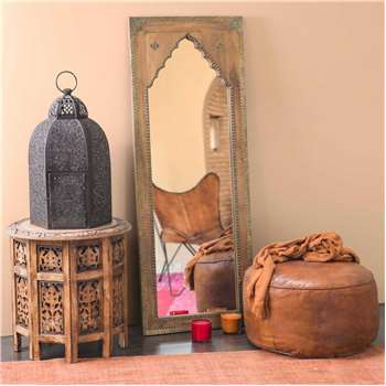 SAHARANPUR mirror in carved mango wood and metal (H122 x W45 x D3cm)
