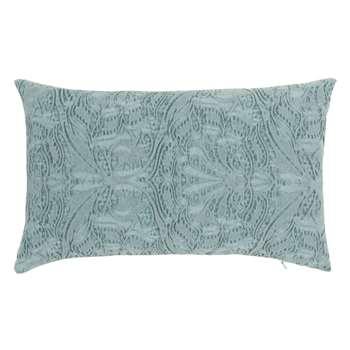 SAILLON - Pleated Blue Cotton Cushion Cover (H30 x W50cm)
