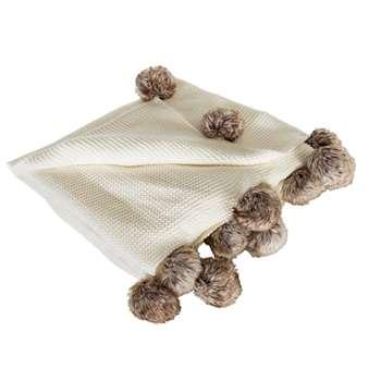 Sainsbury's Home Knitted Pom Pom Throw - Cream (H125 x W150cm)