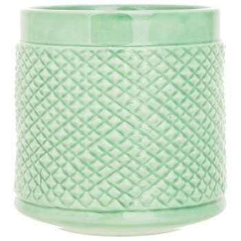 Sainsbury's Home Textured Ceramic Vase - Green (H30.5 x W11.3 x D11.3cm)