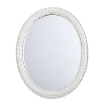 SAINT HONORE Oval Taupe Mirror (32 x 25cm)