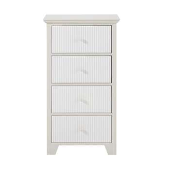 SAINT HONORE - Taupe Tall Chest of 4 Drawers with Grey Stripes (H84 x W46 x D31cm)