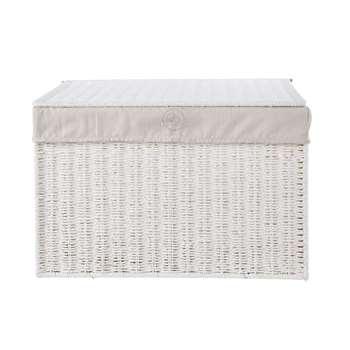 SAINT HONORE White Wicker Storage Chest (39 x 58cm)