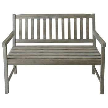 SAINT-MALO 2 seater greyed acacia wood garden bench seat
