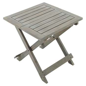 SAINT-MALO Acacia garden folding side table in grey W 50cm