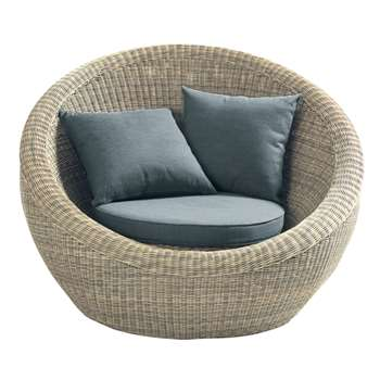 SAINT-RAPHAËL Wicker garden Tub/Armchair, Natural