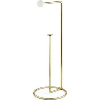 Sakari Marble Freestanding Toilet Roll Holder, Brass (H53 x W20 x D20cm)
