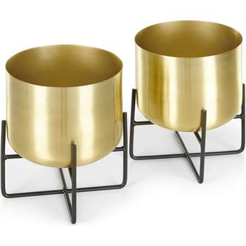 Salix Set Of Two Low Plant Stands, Brass (H23 x W19 x D19cm)