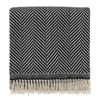 Salla Wool Blanket, Black & Cream (130 x 190cm)