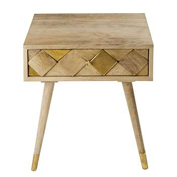 SALOME 1-Drawer Bedside Table in Gold-Effect Mango Wood (H42 x W48 x D35cm)